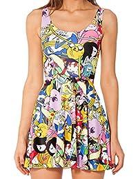 HaiDean Vestido Niña Mujer Verano Elegantes Cortos Estampados Anime Vestidos Modernas Casual Sin Mangas Cuello Redondo