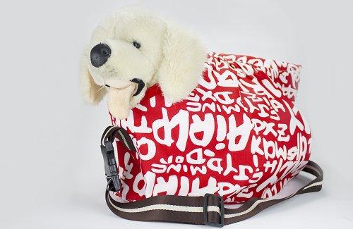 Umhänge-/Tragetasche Welpentasche XL für Welpen/ kleine Hunde bis 10 kg, Farbe: Weiß / Rot