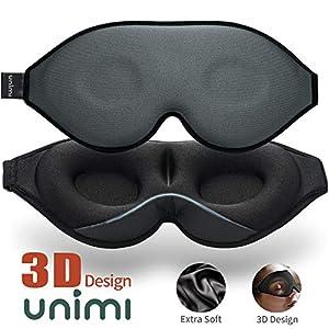 2020 Verbesserte Schlafmaske und Augenmaske für Frauen und Männer, weiche Augenmaske aus 3D konturiertem Lycra Material, 100% Lichtblockierende Schlafbrille für Reisen, Nickerchen-Grau