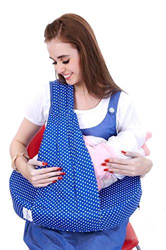 MomToBe Blue Feeding Pillow/Nursing Pillow - HD Foam 100% Cotton Fabric, Polka Print