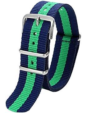 JSDDE Damen Uhren-Armband Klassisch Nylon Textil Uhrenarmband Nylon Uhrenarmband 20mm Uhrband Blau-Gruen-Blau...