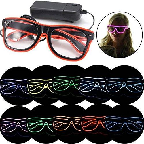 mark8shop EL Draht LED Neon Licht Shutter geformte Gläser für Rave Kostüm ()
