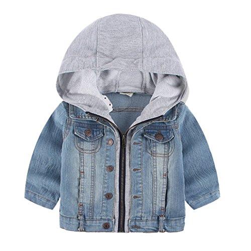 Foeoya - Kinder Modische Jeansjacke Kapuzenjacke Herbst Outerwear Übergangmantel - Blau