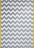 Art for Kids Chevron Wohnzimmer Graphic Zick Zack Moderner Teppich, weiß/grau/gelb, 120x 170cm P, Plastik, Weiß/Grau/Gelb, 120 x 170 cm