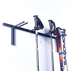 4U® Skihalter Wand-Skihalter für 4 Paar Ski, mit 4 Haken Ski Skiträger Skistöcke Nordic Walking Stöcke Wandhalter Ski Gerätehalter