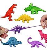 Teeliya® » 6 x Dinosaures Extensibles avec les Couleurs Fluo ✮ Détendre, Pétrir et Jouer ✮ Des jouets élastique ✮ Idéal pour remplir des sachets de fête