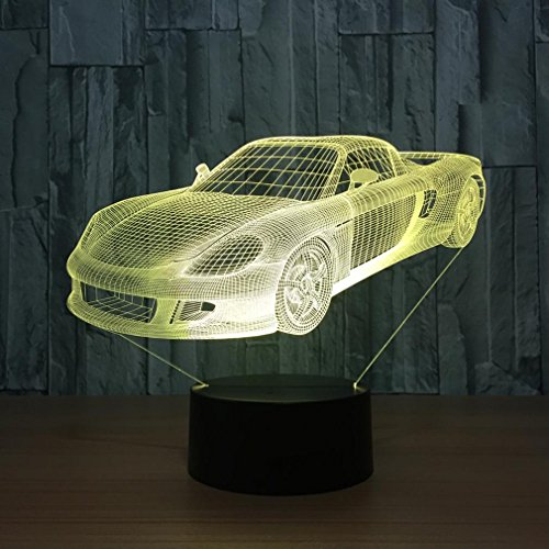 GZXCPC Sportwagen 3D Illusion führt zu kleinen Nachtlicht, 7 Farbwechsel Touch Lampe Acryl Board Dekorative Lampe ABS Base USB Charger Geschenk (Klein Führt)