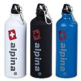 Alpina 3er Set Trinkflaschen Fahrrad Sport Aluminium 750ml Wasser Flaschen Camping