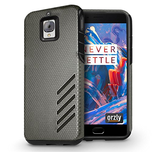 Orzly Grip Pro Case for OnePlus 3 SmartPhone (2016 Model / Dual SIM Version) Durable & LightWeight Twin Layer Case for Added Grip & Protection BLACK