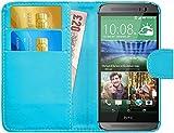 Coque HTC One M8, G-Shield Étui à Rabat en Cuir [Emplacements Pour Cartes] [Fermeture Magnétique] Housse Portefeuille Étui Coque Pour HTC One M8 - Bleu Clair