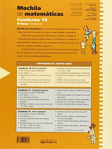Mochila de matemáticas. Cuaderno 10: Primaria. 4 curso - 9788498450064