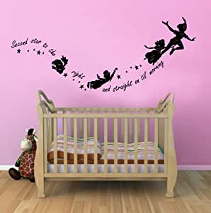 Peter Pan Second Star to the Right Childrens Wall Sticker Mural for kids bedroom 100x55 Black