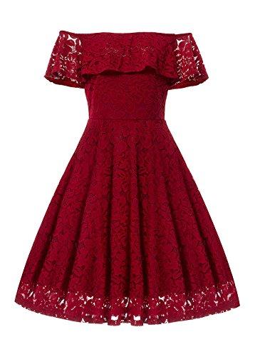 Gigileer - Vestido retro de encaje para mujer, de estilo años 50, con los hombros descubiertos y largo hasta las rodillas, para salir de noche o ir a una fiesta rojo XXXL