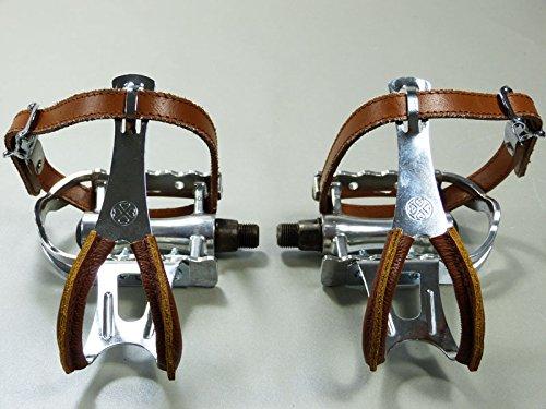 Retro Rennfahrrad Pedale mit Pedalhaken schlicht (Retro Pedalhaken mit Lederschutz und Leder Riemen)