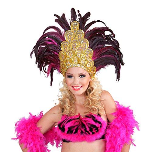 Amakando Federkopfschmuck Rio Samba-Kopfschmuck Gold, pink brasilienisches Kostüm Accesoire Sambatänzerin Zubehör Showgirl Outfit Karneval in ()