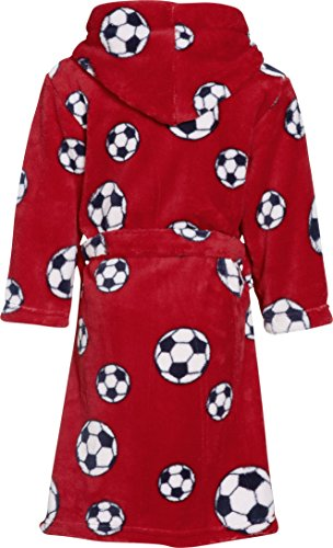 Playshoes Boy s Football Fleece Bathrobe  Red  11-12 Years  Manufacturer Size 146 152