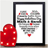 Valentines Gifts for Him & Her - PERSONALISED Valentines Day Presents Love Heart - PERSONALISED ANY NAMES for Anniversary, Birthday - Black or White Framed A5, A4, A3 Prints or 18mm Wooden Blocks