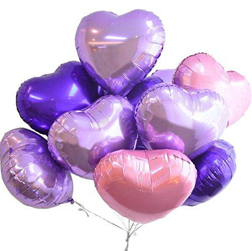 ch Herz Aluminium Folie Film Aufblasbare Ballons Luftballons Geburtstag Urlaub Hochzeit Party Dekoration Metallic Ballon (Lila Set) (Ballon-lila)