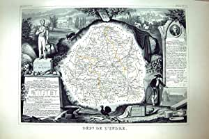 Map C1845 De L'Indre France Châteauroux Le Blanc Chatre Antique Française