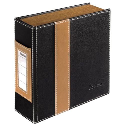 Hama CD-Ordner (für 28 CDs/DVDs/Blu-rays, stabile Konstruktion mit Holz-Seitenteilen) schwarz/braun