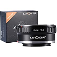 AI-NEX Adaptador, K&F Concept Adaptador para Objetivo para Nikon AI a Sony NEX E-Mount Cámara, Adaptador de Montura Ajuste para Sony NEX-3 NEX-3C NEX-3N NEX-5 NEX-5C NEX-5N NEX-5R NEX-5T NEX-6 NEX-7 NEX-F3 NEX-VG10 VG20