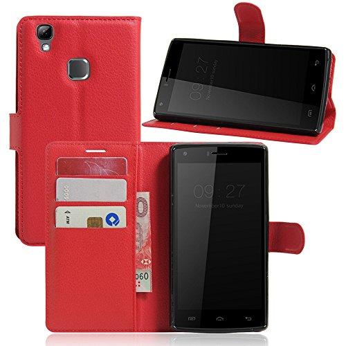 Tasche für DOOGEE X5 Max / X5 Max Pro Hülle, Ycloud PU Ledertasche Flip Cover Wallet Case Handyhülle mit Stand Function Credit Card Slots Bookstyle Purse Design rote