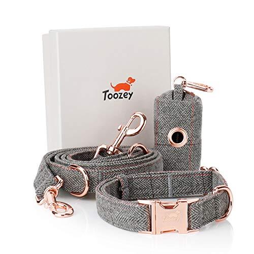 Toozey Premium Hundeleine (2m) + Hundehalsband + Beutelspender im Set - 3 Fach Verstellbare Stilvoll Leine für Kleine Hund & Mittlere Hunde