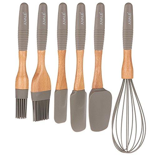 6Küche Gadgets Set-Silikon Kochen und Backutensilien Supplies mit Buche Holz Griffe, inkl. Spatel wendemaschinen, Schneebesen, und Marinaden Pinsel Gourmet Cooking-gadgets