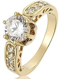 Mujer Joyería Claro Anillo de Oro Piedra plateado compromiso Topaz blanco tamaño 7 O