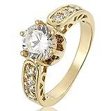 RIVA Schmuck Damen 18K Gold Vergoldet Rund Weiß Topas Edelstein Kristall Zirkonia CZ Hochzeit Elegant Ringe Größe 17 O