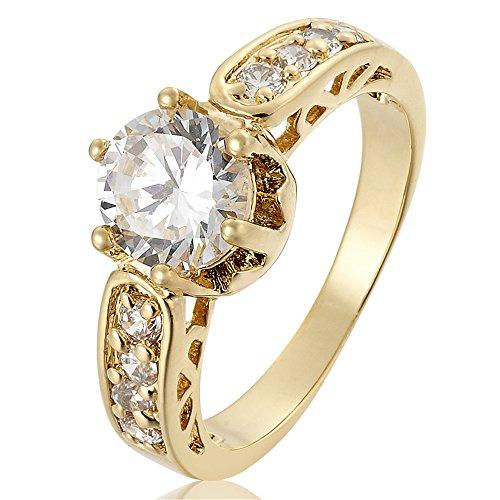 RIVA Schmuck Damen 18K Gold Vergoldet Rund Weiß Topas Edelstein Kristall Zirkonia CZ Hochzeit Elegant Ringe Größe 17 - Gold-weiss Hochzeit Ring