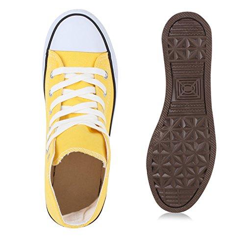 Damen Herren Unisex Sneaker High Schnürer Denim Sneakers Camouflage Sportschuhe Turnschuhe Glitzer Stoff Schuhe Übergrößen Flandell Gelb