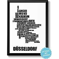 DÜSSELDORF - Bild mit Stadtbezirken - Rahmen optional - Geschenkidee Geburtstag Umzug Einzug Einweihung