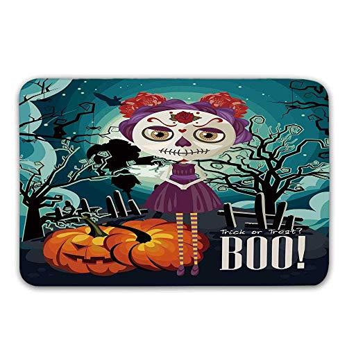 Halloween-Haustürmatte, Cartoon-Mädchen mit Zuckerschädel-Make-up Retro saisonale Kunstwerke wirbelte Bäume Boo dekorative Fußmatte für innen oder außen Badematte