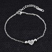 BRZM Fashion Jewelry Charming Bracelet Leng Elegant Pretty Bracelet Fashion Extravagance Temperament Bracelet with Heart-Shaped Pendant Titanium Steel Bracelet(Silver)