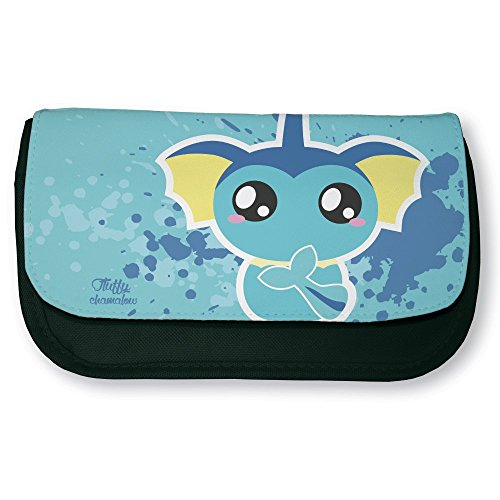 Trousse noire de maquillage ou d'école Pokemon Aquali / Vaporeon Chibi Kawaii by Fluffy chamalow- Fabriqué en France - Chamalow shop