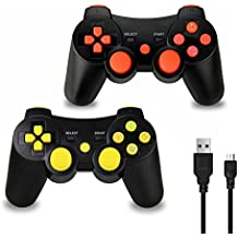 Vniqloo 2 x Controller Wireless Bluetooth Joystick per PS3 Giochi, Doppia Vibrazione Sixaxis Joypad Gamepad per Sony PS3 PlayStation 3 (Rosso/Giallo)