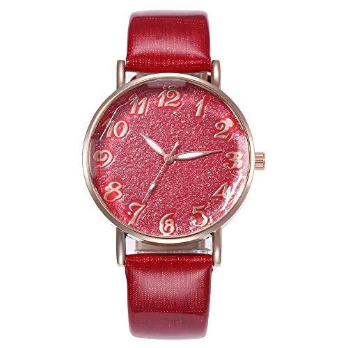 SHE.White Damen Analog Quarz Uhr mit Leder Armband Elegant Treibsand Strass Zifferblatt Damenuhren Klassiker Rund Uhren Armbanduhren