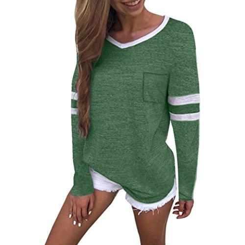 Vectry Damen Shirts Tops Blusenshirt MäDchen Polo Streetwear Sweatshirts Blusen Tuniken Kleider Westen KostüMe Herbst, Sommer Casual V-Ausschnitt Langarm Taschen Bluse Tops T-Shirt (S, Grün)