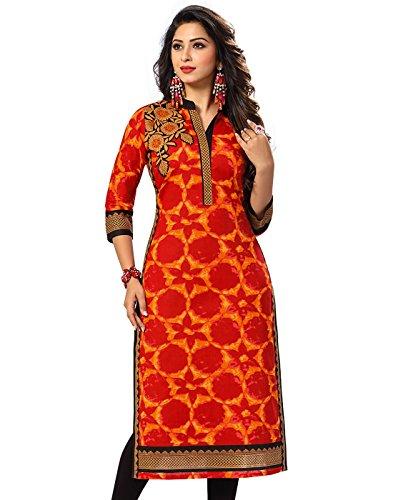 Jevi Prints Women's Cotton Dress Material (Saheli-1501_Free Size_Orange)