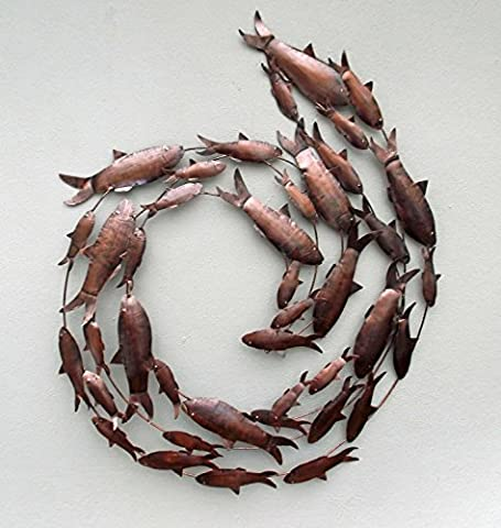 Metal Hand crafted Fish Circle Antique Copper Finish Metal Wall Art Sculpture Wall Decor and