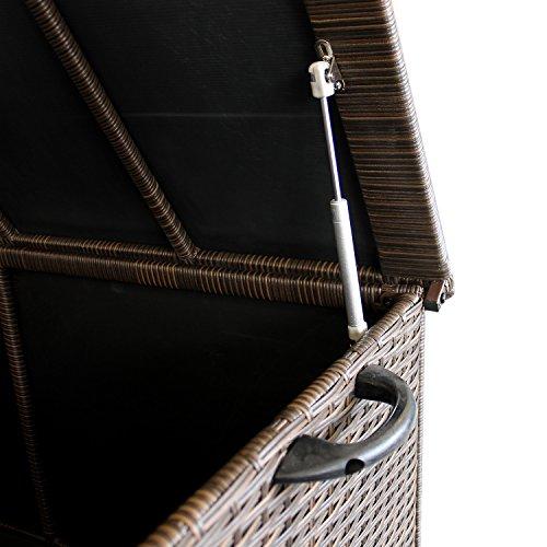 WOHAGA® Gartenbox Auflagenbox Kissenbox Gartentruhe Aufbewahrungsbox Aufbewahrungskiste Kissentruhe – Rollbar, Gasdruckfeder, 134x56xH65cm, Poly Rattan, Braun - 4