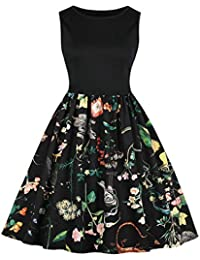 Mujer Vintage Vestido Corto sin Mangas con Estampado Verano de Boho Mini  Vestir sin Mangas Playa Falda Swing Dress… f3a5c450f738
