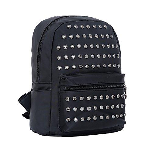 DonDon Zaino donna union jack UK nylon impermeabile con borchie nero a righe - Nylon
