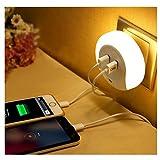 AMMBER Smart LED-Nachtlicht mit Zur Dämmerung Abenddämmerung Licht sensor und Wandplatte Ladegerät Dual USB, 5V 2A Ausgang für Schnellladung Sensor-LED-Lampe-Funktion in der Dunkelheit für Flur, Bad, Schlafzimmer, Wohnzimmer, Küche (White)