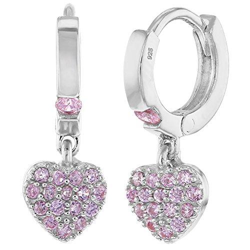 In Season Jewelry Baby Kinder Mädchen - Reifen Ohrringe Baumeln Herz 925 Sterling Silber Rosa CZ Zirkonia Klein (Für Silber-ohrringe Mädchen)