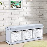 Storage Bench Shoe Cabinet with Seat Cushion 3 Baskets