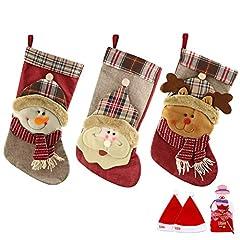 Idea Regalo - SueH Design Set 3 Pezzi Calza di Natale 48cm   2 Cappelli di Babbo Natale e 1 Tasca per Caramelle Inclusa