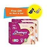 #6: Premium Champs High Absorbent Premium Pant Style Diaper (Pack of 2) (Free pair of Secret and Loafer socks)| Premium Pant Diapers | Premium Diapers | Premium Baby Diapers | anti-rash and anti-bacterial diaper | (Medium, 56)