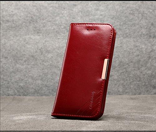 COVO   Samsung Galaxy S8 Plus Funda Funda Piel genuina Billetera Funda para Samsung Galaxy S8 Plus con Stand Funci  n Rojo